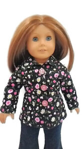 Spring-Jacket-fits-American-girl-dolls-18-034-Doll-Clothes-Pink-White-flower-print