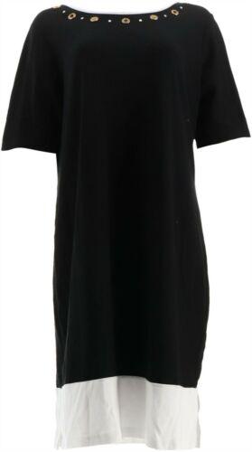 Quacker Factory Knit Dress Rhinestone Grommets Black White L NEW A307840