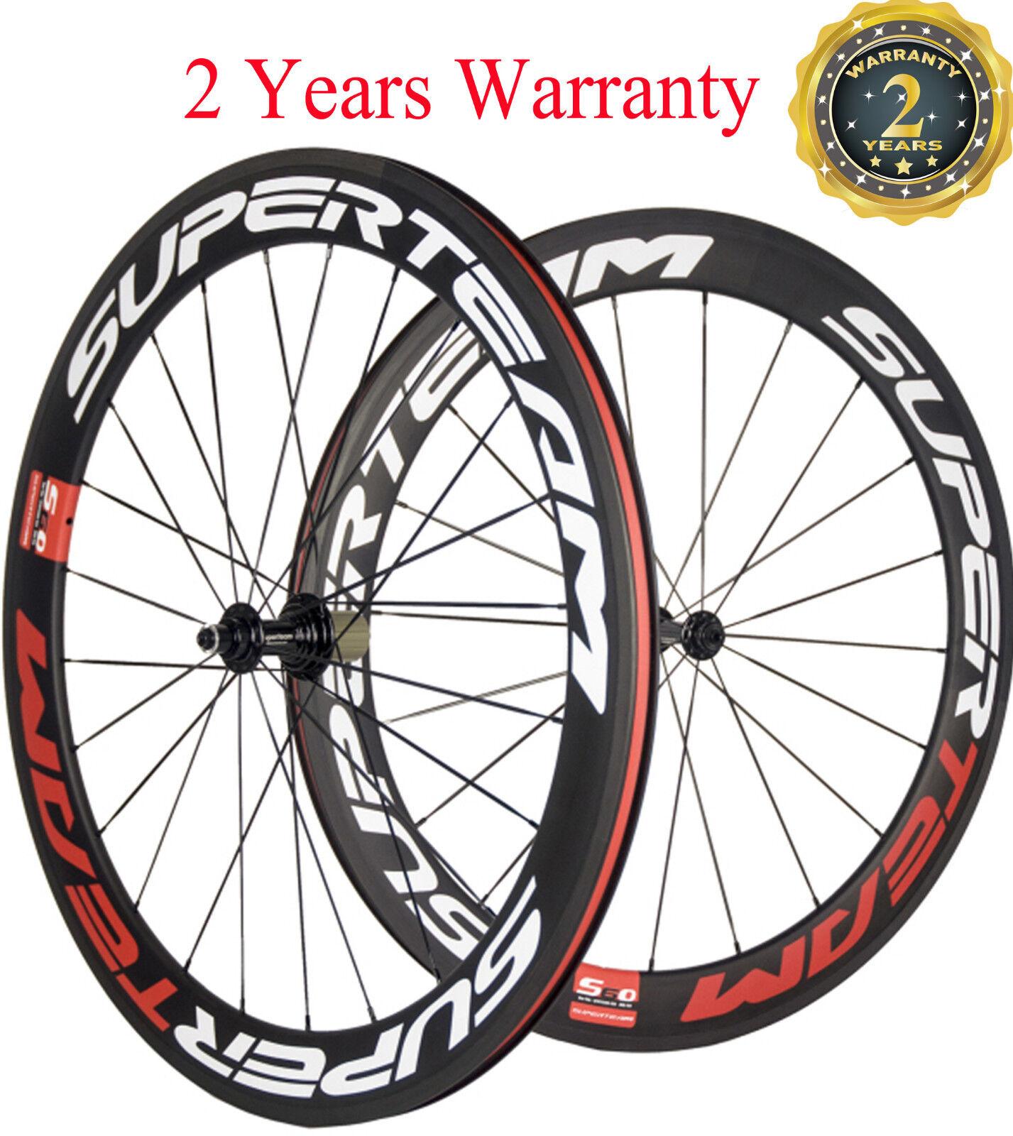 Superteam 60mm Road Bike Wheels Racing Bicycle wheels Carbon Clincher  700C Race  sale online discount