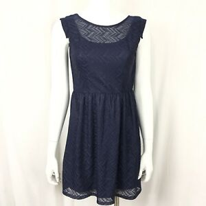 Speechless-Navy-Blue-Lace-Overlay-Fully-Lined-Cap-Sleeve-Dress-Juniors-Size-3