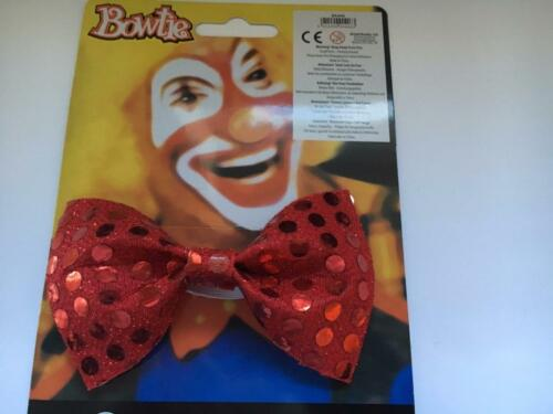 ** RED SEQUIN BOW TIE CLOWN ADULT FANCY DRESS NEW MENS LADIES