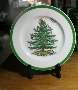 4-Spode-Christmas-Tree-Salad-Plates-England-7-3-4-034-New-Condition-Dinnerware