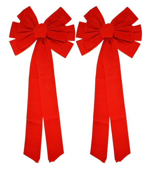 Red Velvet Christmas Bow 9-inch X 16-inch 4 Pack of Holiday Bows