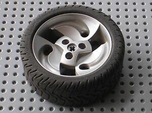 RARE Roue LEGO TECHNIC MetallicSilver wheel ref 32197 & tyre 32196 / Set 8448