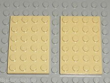 2 Plaques LEGO tan plate 4 x 6 ref 3032 / set 6210 7898 7621 7110 4512 7115 7194