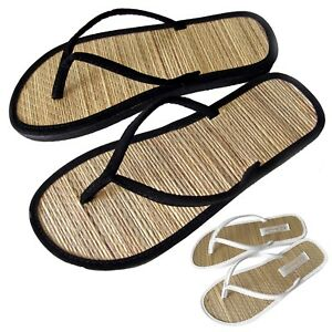 7eaf3878d2e49 New Women s Straw Bottom Flip Flop Flat Thong Sandals Black White ...