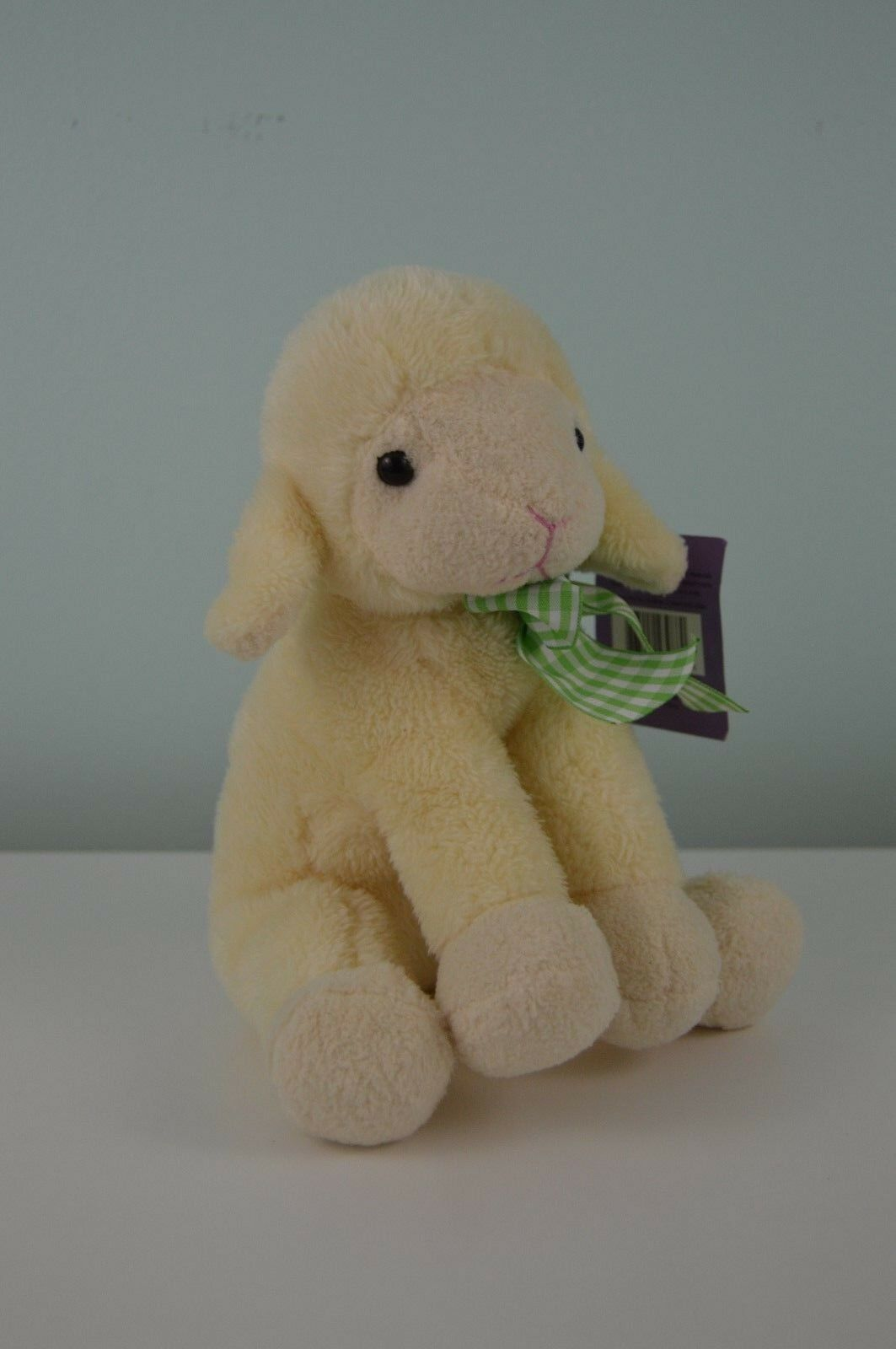 Animal Adventure Lamb Sheep Plush Stuffed Animal Off White Cream Green Plaid Bow