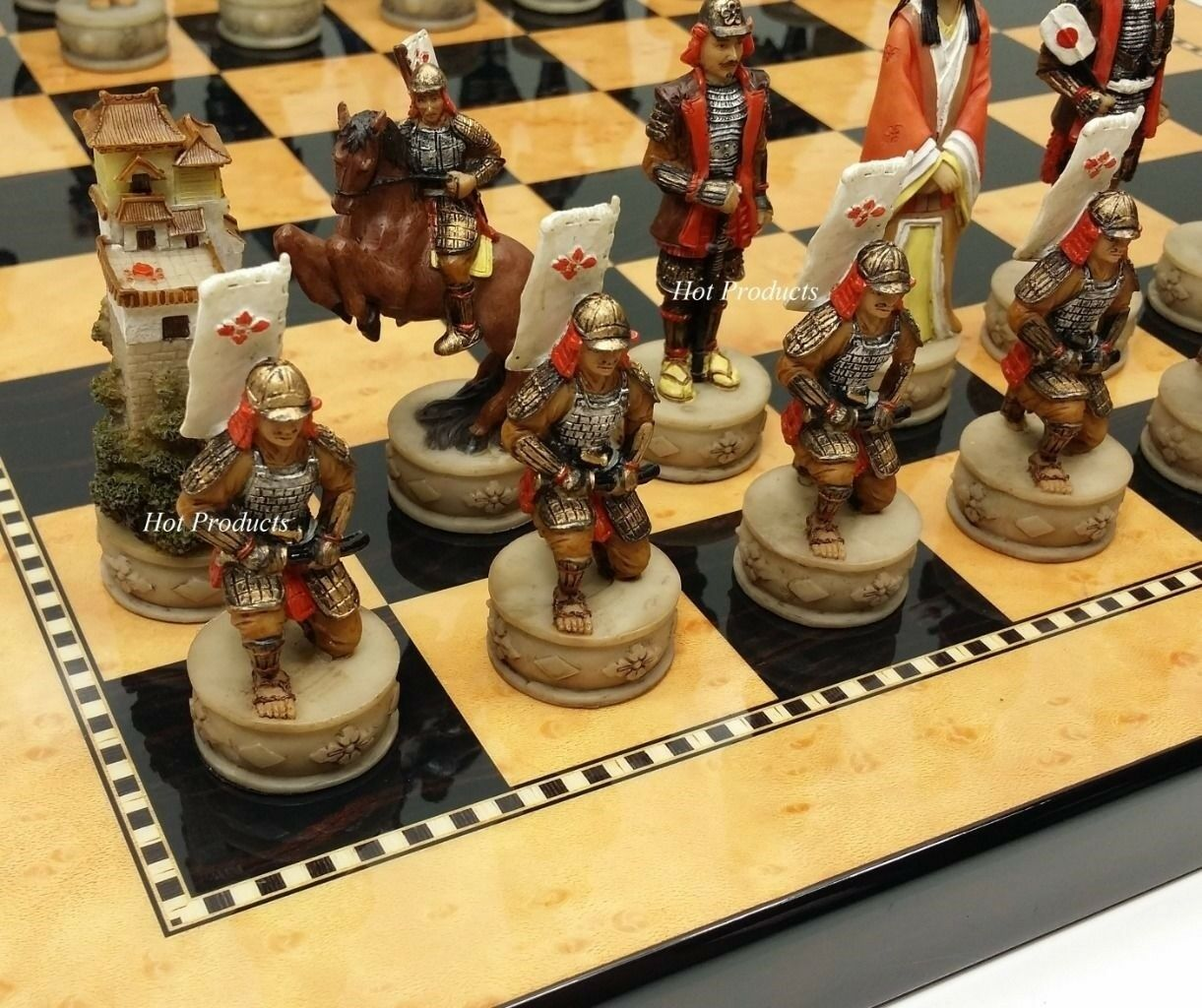 JAPANESE SAMURAI WARRIOR CHESS SET W 15  GLOSS WALNUT BIRDSEYE MAPLE COLOR BOARD