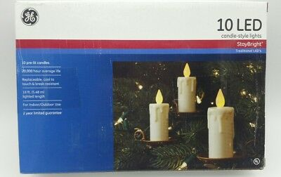 GE LED Candle-Style Stay Bright Christmas Lights 10 Pre-Lit 4 PACK