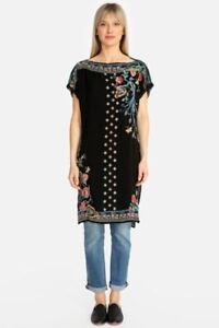Johnny-Was-Dahlia-Embroidered-Boat-Neck-Long-Tunic-Top-Boho-Chic-C23219-NEW