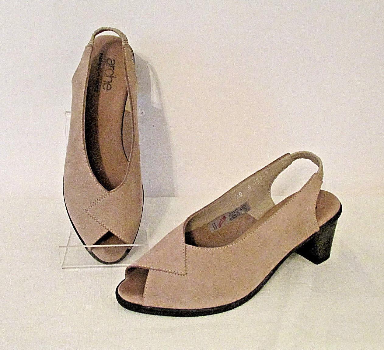 ARCHE France Taupe Suede Leder Peep Toe Slingback Sandales Schuhes 40 9 Heels EUC