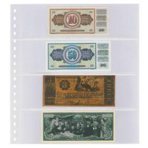 1 Lindner 852 Transparent Pockets Banknote sleeves 4x 240x65mm+ Black Zwl