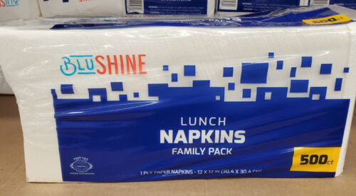 "12"" X 12"" 500 Count Picnic 2 X Blu Shine Lunch Napkins Family Pack Breakfast"