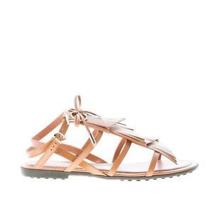 brand new 69272 f2689 Details zu TOD'S damen schuhe shoes blass braun leder flat sandalen fransen  und metal logo