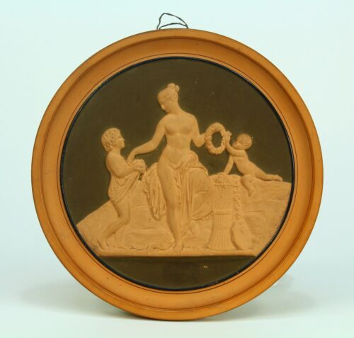 Antique 1800's P. IPSEN Danish NeoClassical Terracotta Roundel Wall Plaque