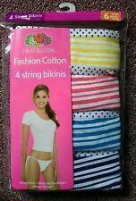Pack of 4 Fruit of the loom String bikinis panties size 6