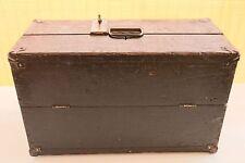 Vintage Industrial Wooden Tool Box with Vintage Padlock & Keys - Primitive