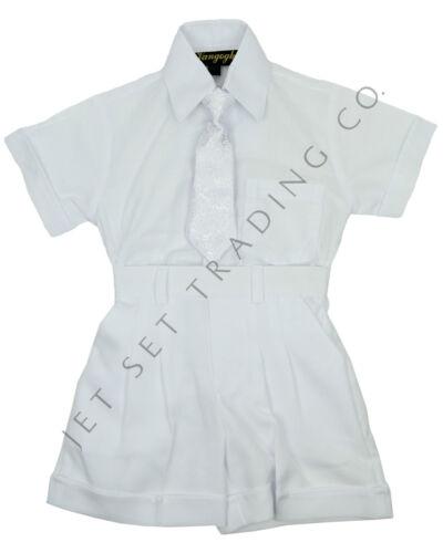 INFANT WHITE CHRISTENING SET 5 PCS VEST SHIRT PANT  HAT /& TIE 3M-24M