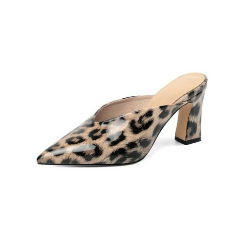 Details about  /Trendy Women OL Office Party Leopard Pattern Closed Toe Mules Slippers 34//43 D
