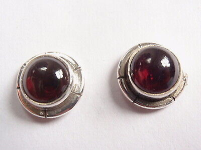 Garnet 3-Point Rope Style Accents 925 Sterling Silver Stud Earrings