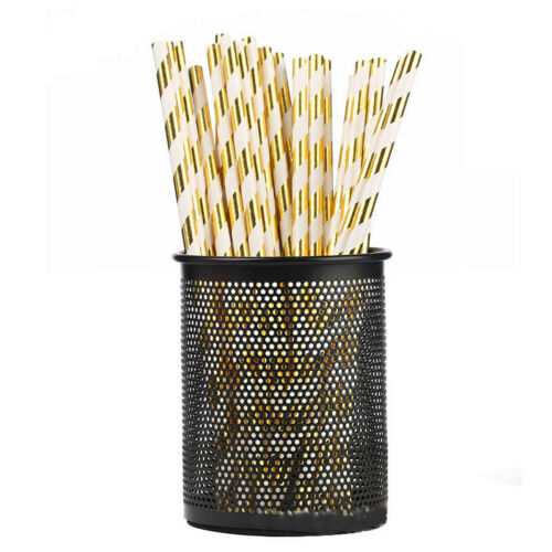 25x Biodegradable Paper Drinking Colorful Wedding Party Birthday Striped Straw B