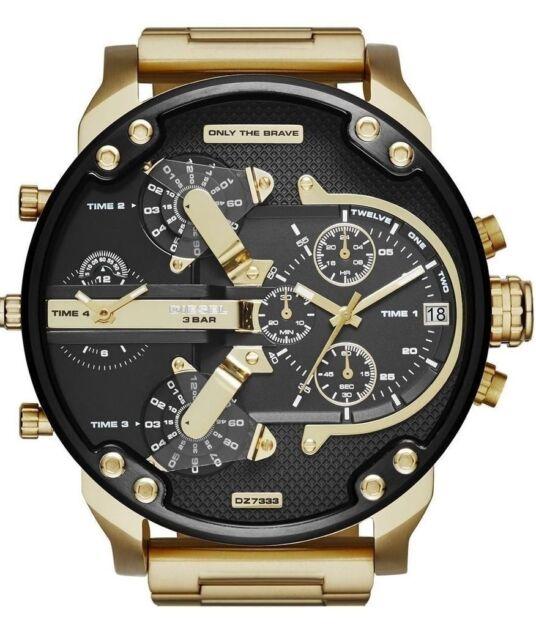 Original Diesel Herren Uhr DZ7333  XL  Mr Daddy 2.0 Gold-Ton  Neu & Ovp