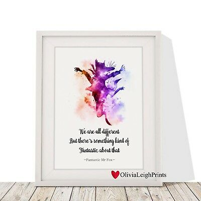 Roald Dahl Fantastic Mr Fox Word Quote Watercolour Wall Art Print Gift Nursery Ebay