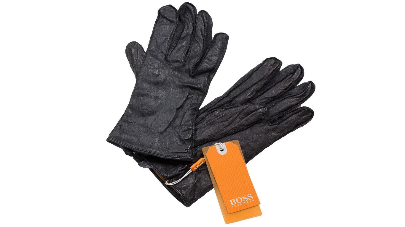 Hugo Boss LederhandschuheGans Gr. 9,5 9,5 9,5 schwarz Büffelleder Orange Label Neu | Ruf zuerst  9ee04b