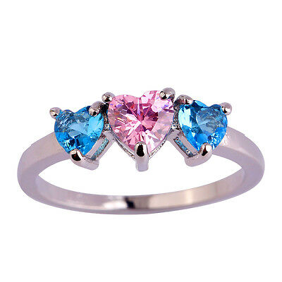 Pink & White & Blue Topaz Gemstone Silver Women Men Ring Sz 6 7 8 9 10 11 12 13