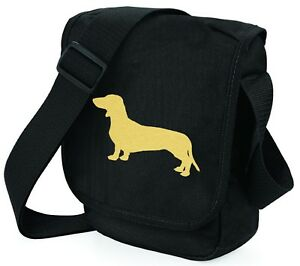 Dachshund-Bag-Metallic-Gold-Silver-on-Black-Shoulder-Bag-Birthday-Xmas-Gift