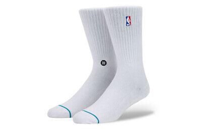 Stance SOCKS NUOVI Pantaloncini Uomo NBA Logoman Crew Socks Bianco NUOVO con etichetta