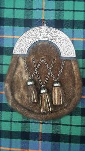 Scottish Full Dress Kilt Sporran Formal Seal Skin Celtic Cantle Antique Finish