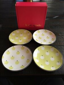 Image is loading KATE-SPADE-NEW-YORK-BY-LENOX-WICKFORD-ORCHARD- & KATE SPADE NEW YORK BY LENOX WICKFORD ORCHARD SET 4 TIDBIT PLATES ...