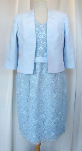 Jacques Vert POWDER BLUE KNEE LENGTH CORNELLI  LACE SHIFT DRESS SHANTUNG JACKET