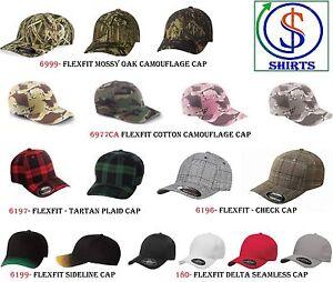 Image is loading Flexfit-Camo-Caps-Fitted-Hats-6999-6977CA-6199- c049d4d6015b