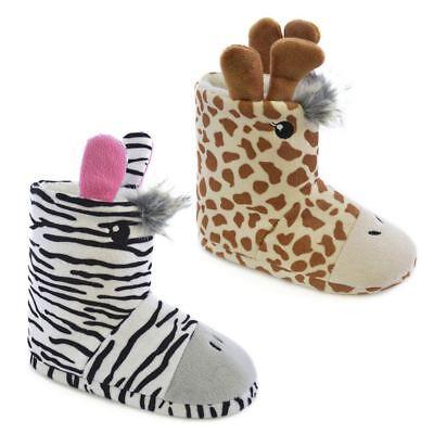 Infant Newborn Baby Girl Brown Giraffe Animal Print Crib Shoes wif Ribbon NB-18M