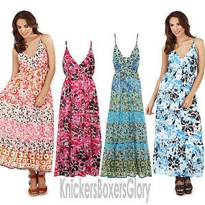 Ladies-Floral-Maxi-Summer-Beach-Dress-Size-8-10-12-14-16-18-20-22-NEW