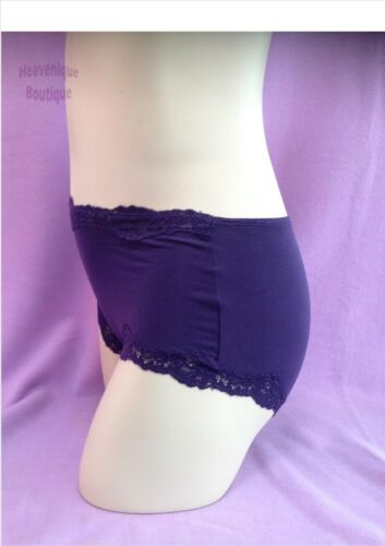 Ex Store Ladies Dark Purple cotton rich high rise lace trim knicker shorts 8 10