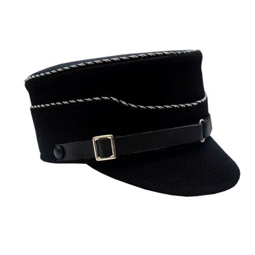 WWII Schaftmütze schwarz mit alu//schwarz kordel Schirmmütze Visor Hat Black 60cm