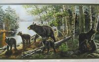 Black Bear With Cubs In The Woods & Stream Wallpaper Border 6