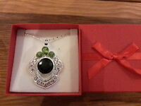 Brand new large silver plated necklace with blue and green stones  + gift box
