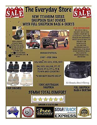 SINGLE 20mm SHEEPSKIN WOOL CAR SEAT COVER FOR NISSAN GU PATROL