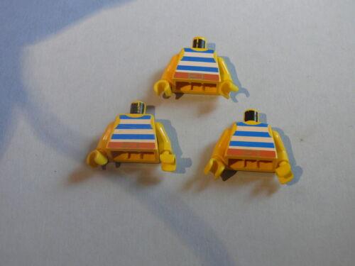 Lego 3 torses pirates set 6285 6259 6235 6257 3 yellow minifig torsos