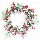 56CM Large Christmas Decoration Snowy Red Berry With Leaves Wreath Door Hanger