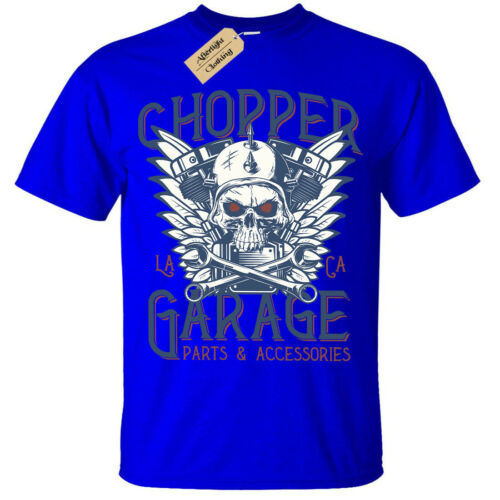 Kids Boys Girls Chopper Garage T-Shirt Biker skull motorcycle