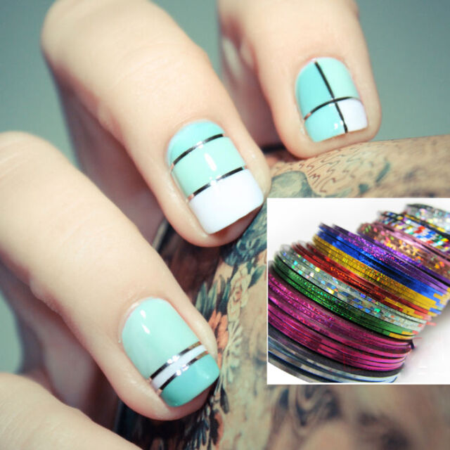 12 Laser Color Rolls Striping Tape Line Nail Art Decoration Sticker ...