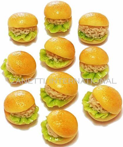 Boneca Mini minúsculo Alimentos Padaria Pão De Hambúrguer 10 Casa De Bonecas Miniatura Salada De Atum Rolos