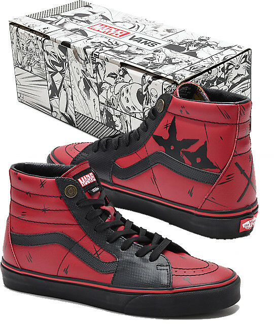 Authentic Vans x Marvel Sk8-Hi Deadpool Red & Black High Top Old Skool shoes