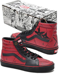 e1cbb48ea2 Authentic Vans x Marvel Sk8-Hi Deadpool Red   Black High Top Old ...