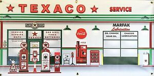 Texaco vintage gas station scene wall mural sign banner for Cleveland gas station mural